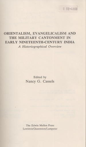 Orientalism, evangelicalism and the military cantonment in early nineteenth-century India