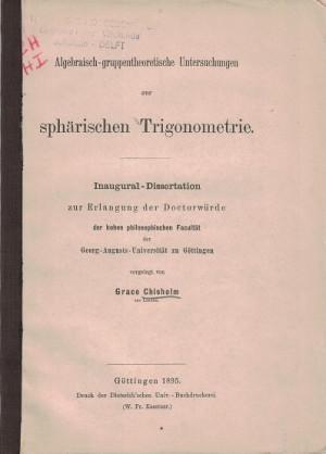 Algebraisch-gruppentheoretische Untersuchungen zur sphärischen Trigonometrie.